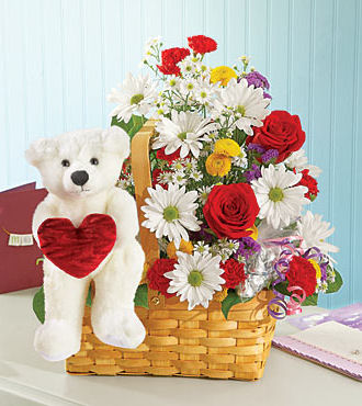 Mix Flowers in Basket with Bear