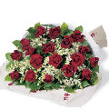 24 Red Roses with babys breath
