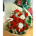 24 mixed fresh white & red roses bouquet