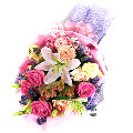 12 fresh pink rose with mixed flower bouquet