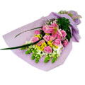 12 pink roses & mixed various flower bouquet