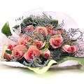 12 Pink Rosess in Bouquet