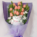 12 Pink Roses in Bouquet w/ small Stuff Toy