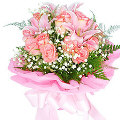 12 Pink Roses with 3 Pink Lilies in Bouquet