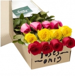 12 Mixed Rose in a Box