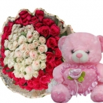 Roses with Bear for valentines