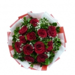 12 Red Roses in Bouquet for Valentine